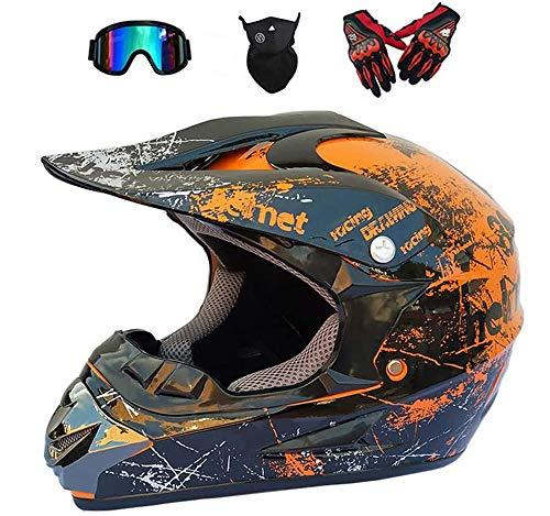 LEENY Cascos de Motocross - Adulto Cascos de Motocicleta con Gafas/Máscara/Guantes, Motos...