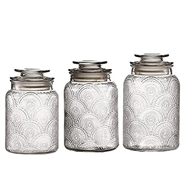Glass Canister Set, 3 Piece, Round - Airtight Sealed, for Kitchens, Food, Counters and Bathroom