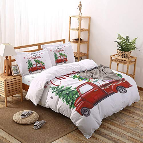 4 Pieces Duvet Cover Bedding Set- 1 Duvet Cover + 1 Flat Sheet + 2 Pillow Shams, Christmas Tree Red Truck Carrying Snowman Comforter Cover Queen Size for Kids/Adults