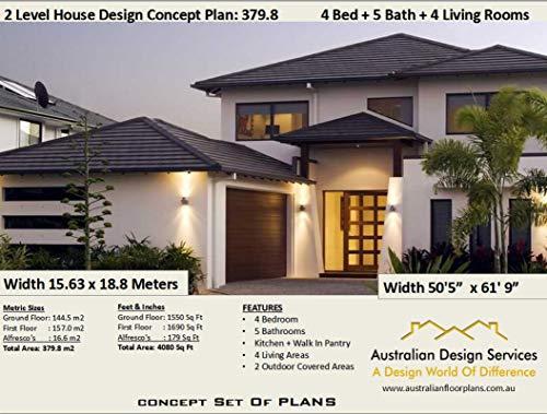 Amazon Com 2 Level Home Design Concept Plans 4 Bedroom 5 Bathroom 4 Living Areas Concept Plan Includes Detailed Floor Plan And Elevation Plans Ebook Morris Chris Kindle Store