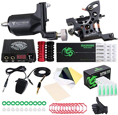 Dragonhawk Extreme Tattoo Kit 2 Pro Tattoo Machines Rotary Machine Coil Gun Power Supply Disposable Needles Tip Foot Pedal EUYMX10-2