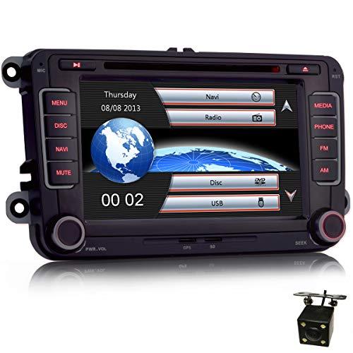 iFreGo Autoradio da 7 pollici 2 Din, telecamera posteriore + autoradio, per VW Golf 5/6, per Passat CC, per Tiguan, per Polo, per Touran, per Candy, per Sharan, navigazione, autoradio Bluetooth