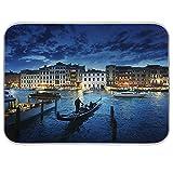 Stuoia di asciugatura per piatti con vista tramonto di Venezia in Italia, tappetino assorbente resistente al calore per piatti scolapiatti 40,5 x 40,5 cm