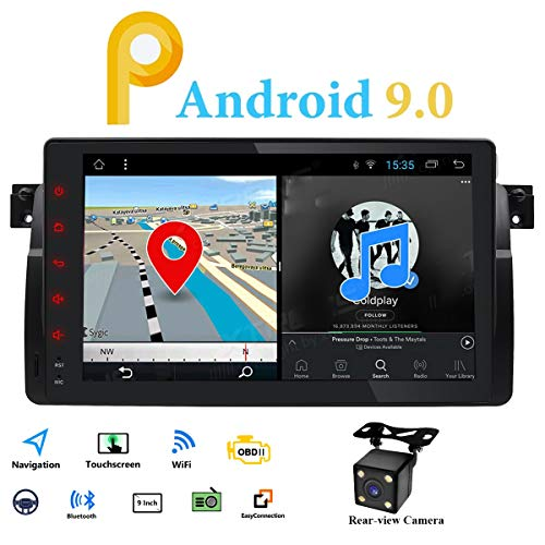 Android 9.0 Single Din Radio Estéreo de Coche GPS Fit para BMW E46 3 Series...