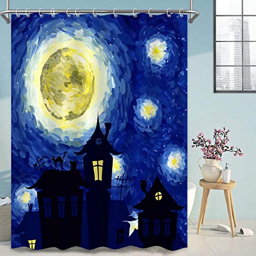 Thinyfull Van Gogh Starry Night Shower Curtain for Bathroom, Abstract Castle Oil Painting Bath Curtains with Hooks Fabric Waterproof Washable, 72x72 inches
