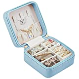 DOWE Small Jewelry Box for Travel Mini Organizer Jewellery Storage Portable Leather Case Display for Rings Earrings Necklace Accessories Gifts for Girls Women (Blue)