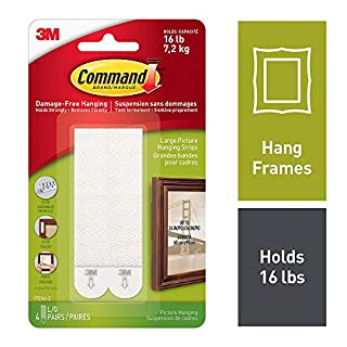Command Large Picture Hanging Strips for Picture Frames, 4 Pairs, White - 17206C (B00EZ0QMQW) | Amazon price tracker / tracking, Amazon price history charts, Amazon price watches, Amazon price drop alerts
