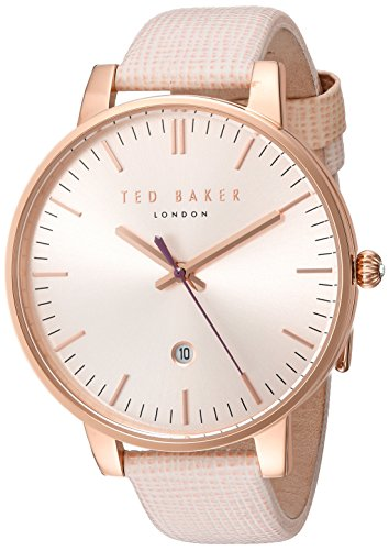 Ted Baker Women's 'Classic' Quartz Stainless Steel and Leather Dress Watch, Color:Pink...