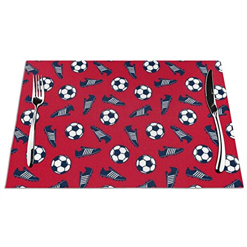 Soccer Ball and Cleats Navy On Red Table Mats Placemats...