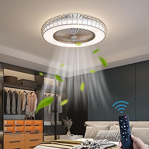 Redondo LED Ventilador Lámpara de Techo 36W Fan Luz de Techo Regulable Silencio Ventilador de Techo Con Iluminación 3 Velocidades Iluminación de Techo Con Control Remoto Cuarto Sala de Estar
