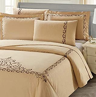 Luxury Bedding Set 6pcs King Size (Embroidery) 100% Cotton - 1* Duvet Cover, 1* Fitted Sheet, 2* Pillow Sham, 2* Pillow Ca...