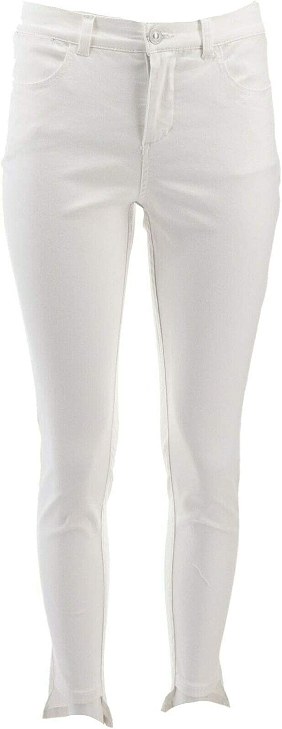 Lisa Rinna Collection Color Skinny Step Hem Jeans White 24W New A353570