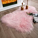 Ashler Soft Faux Sheepskin Fur Rug Pink Fluffy Area Rug Shag Rug Carpets for Bedroom Living Room, 2 x 3 Feet