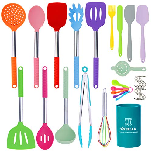 Silicone Cooking Utensils Set 31pcs Kitchen Utensils Set Heat Resistant Nonstick Silicone Spatula Set with Stainless Steel Handle BPAFree Kitchen Cooking Tools Set  Colorful