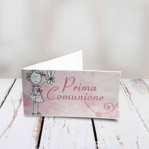 Bigliettini comunione bimbo/bimba in 3 diverse fantasie set da 20, 50, 100, pezzi - Kamiustore (20 pezzi, rosa)