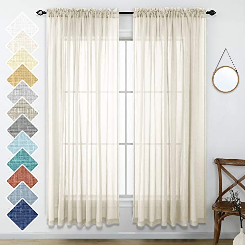 Beige Curtains 84 Inches Long for Living Room Set of 2 Rod Pocket Linen Look Farmhouse Beach Decor Window Drape Light Filtering Beige Semi Sheer Curtains for Bedroom Dining Wide 52x84 Length Cream
