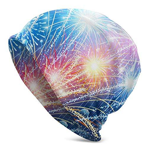 AEMAPE Sombrero de Punto para Adultos con Fuegos Artificiales de Bandera Americana, Gorro Suave y Holgado, Gorro de Skully, Medio pasamontañas, Gorros de Cobertura