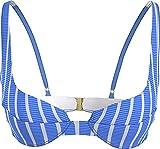 Tommy Hilfiger Balconette UW Parte Superior de Bikini, Hilfiger Stripe Wonder Blue, 75B para Mujer