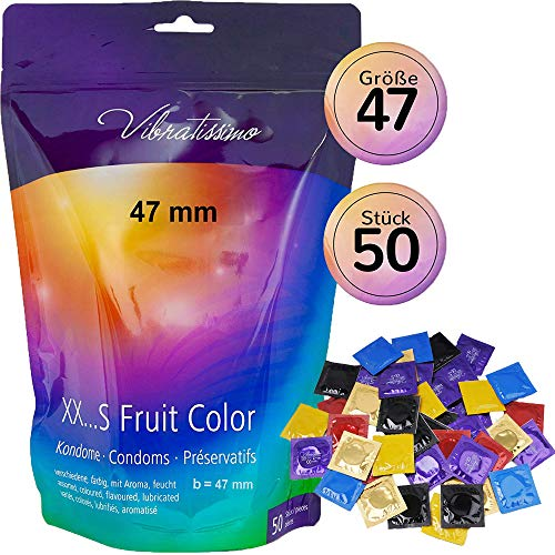 """Paquet de 50 préservatifs VIBRATISSIMO """"MaTaille FRUIT COLOR"""" 47mm colorés et aromatisés - pour des sensations pures et naturelles extra lubrifiés"""