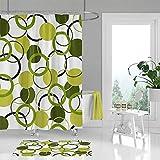 Alicert5II Grün Duschvorhang Badezimmer Boden Teppich Weiß Dunkelgrün Olivgrün Duschvorhänge & Bad Vorhang Housewarming-Geschenk