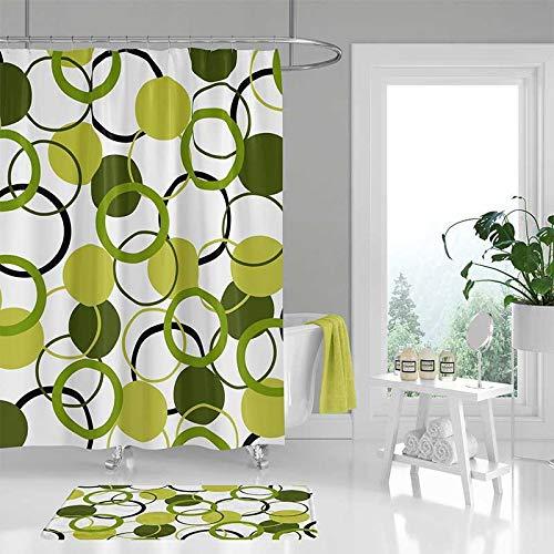 YSHDNDML groene douchegordijn badkamer vloerkleed wit donkergroen olijfgroen douchegordijnen en badkamer gordijn housewarming cadeau