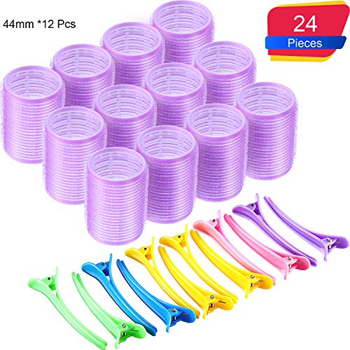 44 mm Self Grip Hair Rollers Set 12 Count large Self Holding Rollers and 12 Multicolor Plastic Duck Teeth Bows hair Clips Hairdressing Curlers for Women, Men and Kids (44 mm, 24 Pieces)