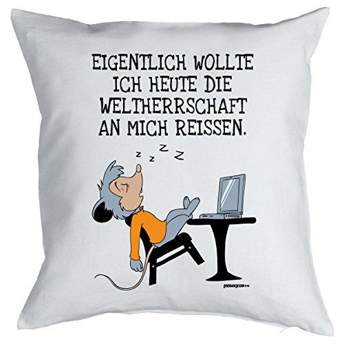 Nerd Cojín <-> Mundo herrschaft <-> ultimatives regalo para de ordenador frikis, Goodman Diseño ® Blanco