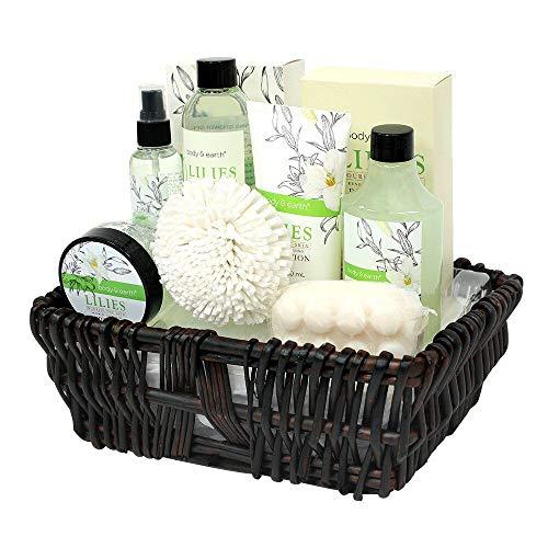 Geschenkkorb für frauen-Cosmetics Bade und Dusch Set-Body & Earth 10pcs Lily Geschenkkorb für Frauen, Enthält Schaumbad, Bodylotion, Duschgel, Spray, Badesalz und Mehr,Geschenkset für Mama Frauen