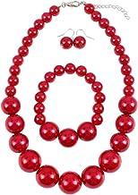 Parel Ketting Vrouwen Faux Rode Sieraden Set Klassieke Faux Parel Ketting Oorbellen Armband Voor Bruiloft 3 Stks Parel Ket...