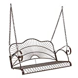 VINGLI Upgraded Metal Patio Porch Swing, 800 LBS Weight Capacity Steel Porch Swing Chair for Outdoors, Heavy Duty Swing Chair Bench for Gardens & Yards (Pattern 1)