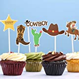 Amosfun 72PCS Cowboy Cupcake Toppers Western Theme Cake Topper Cowboy Cake Picks Cake Decoration for Cowboy Birthdays,Cowgirl Party Supplies,Western Decorations