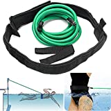 Swim Training Resistance Belt, 3.0 M Swimming Training Resistant Tether Belt, Swim In Place, Endless Pools Swimming, Swim Harness Stationary, Aquatic Swimming Resistance Band Cord Bungee Cords, Green