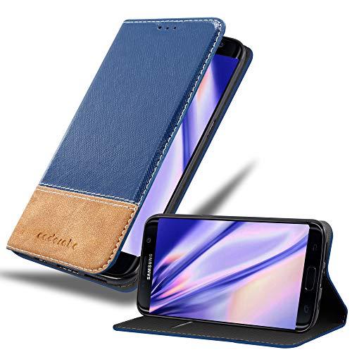 Cadorabo Funda Libro para Samsung Galaxy S7 Edge en Azul MARRÓN – Cubierta Proteccíon con Cierre Magnético, Tarjetero y Función de Suporte – Etui Case Cover Carcasa