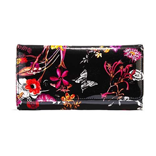 Bravo Handbags Night Blossom Flower Print Large Leather Wallet