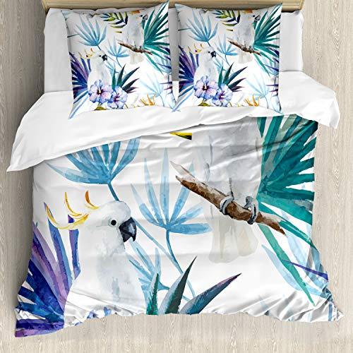 ABAKUHAUS Tropical Funda Nórdica, Acuarela del Loro de Palm, Decorativo, 3 Piezas con 2 Funda de Almohada, 155 x 220 cm, Multicolor