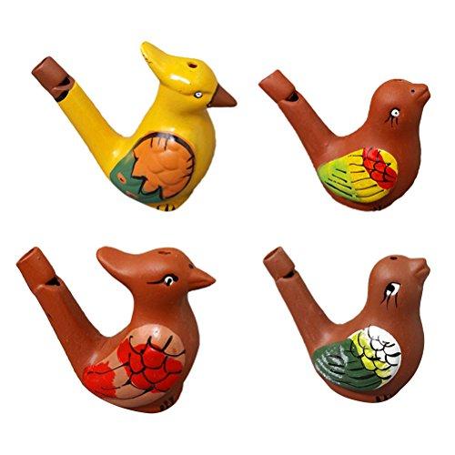 YeahiBaby Wasservogelpfeife Keramik Farbig Zeichnung Musikalische Spielzeug für Kinder 4 Stück