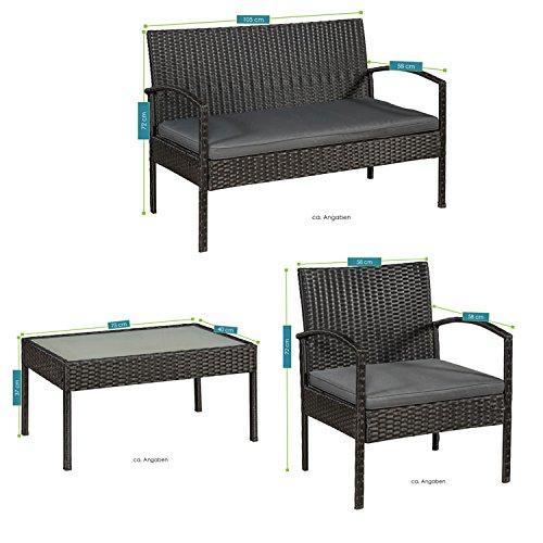 ArtLife Polyrattan Sitzgruppe Trinidad - Gartenmöbel Set mit Bank, Sessel & Tisch für 4 Personen - schwarz mit grauen Bezüge - Terrassenmöbel Balkonmöbel Lounge - 2