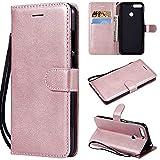 Étui de téléphone exquis de couleur unie en cuir PU avec support de portefeuille à rabat tout...