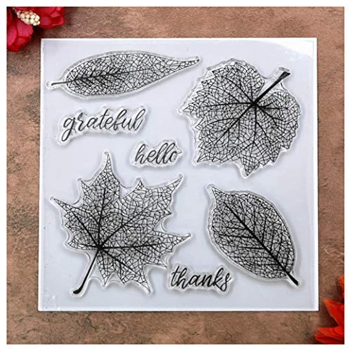 Kwan Crafts Leaves Hello Thanks Grateful Clear Stamps for Card Making Decoration and DIY Scrapbooking