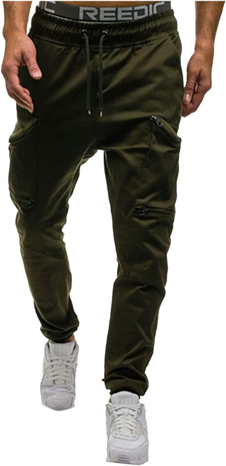 PHSHY Mens Casual Gym Workout Sweatpants Outdoor Lightweight Fitness Sports Joggers Hiking Trousers Cargo Pockets