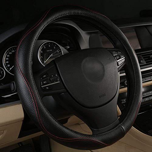 Negro de piel auténtica Funda para volante Universal Fit 38cm