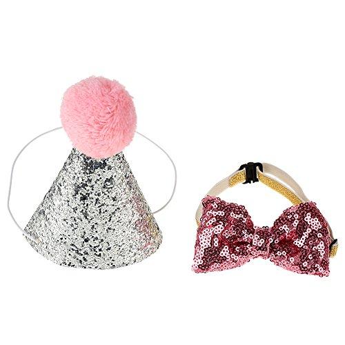 Wifehelper Hut und Fliege, Pailletten-Set, für Hunde und Katzen, zum Geburtstag, Party-Dekoration, Schleife, Kostüm, Kopfbedeckung Rose