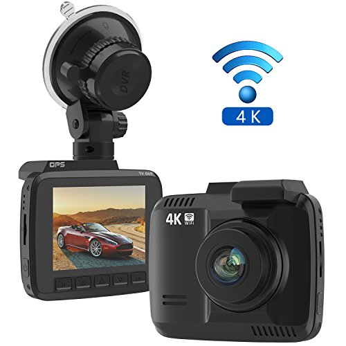 """Frizione 2.4"""" Car Dash Cam, 4K Dash Camera, 150 Degree Wide View Angle Car Camera with GPS, WiFi, G-Sensor, Loop Recording, Parking Monitoring, Motion Detection etc"""
