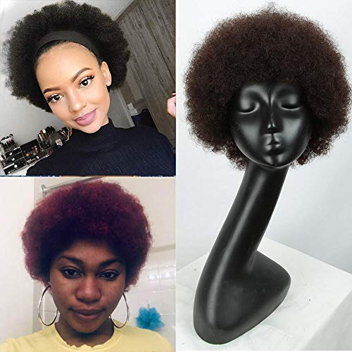 "QVR Afro 12"" Short Curly Human hair Wigs with 100% Brazilian Hair Afro Wigs for Black Women Short Fluffy Tight Curls Wigs (2)"