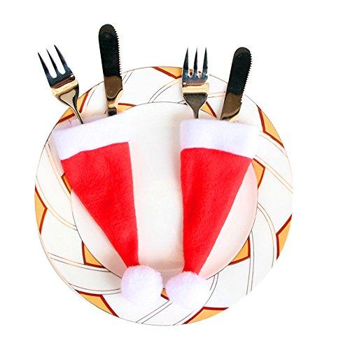 Sharondar 10 PEZZI Natale tappi Posate Titolare Forchetta Cucchiaio Tasca Natale arredamento Borsa