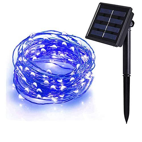 Tuokay Luz Solar 22M 200 LED Guirnalda de Luces 8 Modos de Luces de Alambre de Cobre Impermeable para Decoración de Fiestas, Bodas, Navidad, Exterior e Interior (Azul)