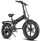 Bicicleta eléctrica Plegable, 500W 48V Bicicleta de Nieve eléctrica Plegable de 20 Pulgadas, Marco de aleación de Aluminio Bicicleta eléctrica con Freno de Disco Doble