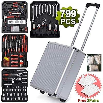 799pcs Sturdy Aluminum Trolley Case Tool Set Au...