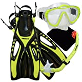 Promate 4570, YEL, sm, Junior Snorkeling Scuba Diving Mask Dry Snorkel Fins Set for Kids