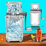 Transparent Manueller Rasierte Eismaschine, Handkurbel Manuelle Eiscrusher mit Edelstahl Blatt, Multifunktions Eisrasierer Maschinee für kalte Getränke, Fruchtdessert und Cocktail